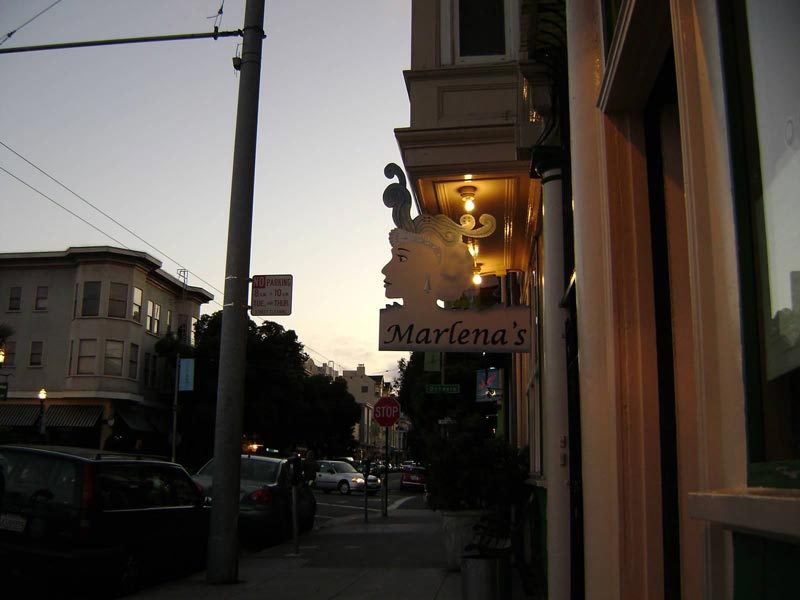 marlena's in the hayes valley area at dusk.